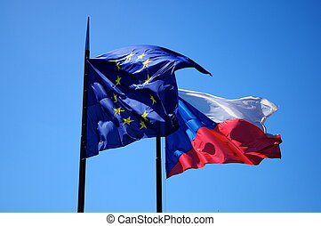 State flags on blue sky background