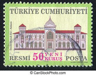 State Guest House Ankara - TURKEY - CIRCA 2005: stamp...