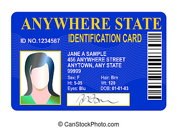 state id card isolated on white - Illustration of state id...