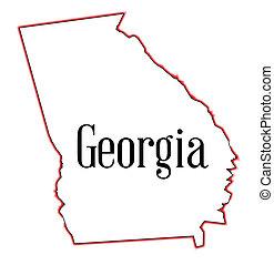Georgia - State map outline of Georgia over a white...