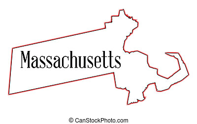 State map outline of Massachusetts over a white background