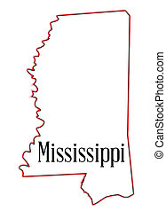Mississippi - State map outline of Mississippi over a white ...