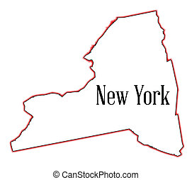 New York - State map outline of New York over a white...