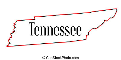 Tennessee - State map outline of Tennessee over a white ...