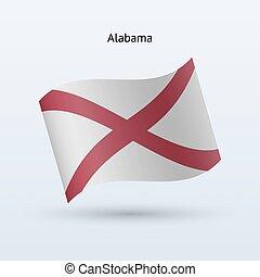 State of Alabama flag waving form. Vector illustration.