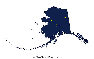 State of Alaska flag map isolated on a white background,...