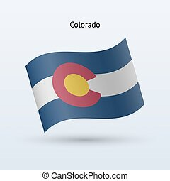 State of Colorado flag waving form. Vector illustration.