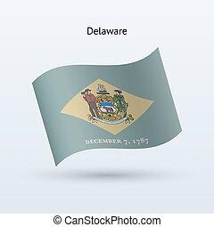 State of Delaware flag waving form. Vector illustration.