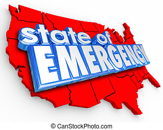 State of Emergency 3d Words United States America National...