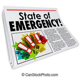State of Emergency Newspaper Headline Top Story Big Crisis -...