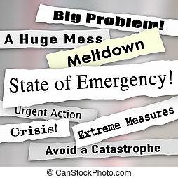 State of Emergency Newspaper Ripped Torn Headlines Urgent...
