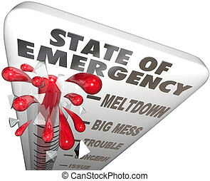 State of Emergency Thermometer Measure Problem Crisis Level...