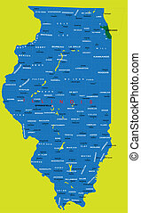 Highly detailed map of Illinois with administrative regions and main cities.