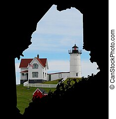 state of maine outline with lighthouse