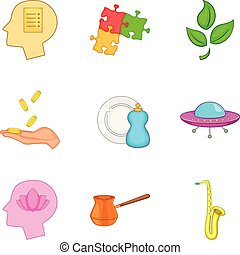 State of meditation icons set, cartoon style