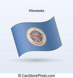 State of Minnesota flag waving form. Vector illustration.