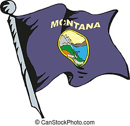 State of Montana flag waving form on white background. Vector illustration