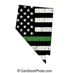 State of Nevada Military Support American Flag Illustration