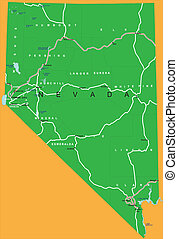 Highly detailed vector map of Nevada with county, main cities and roads.
