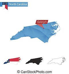 State of North Carolina blue Low Poly map with capital Raleigh.