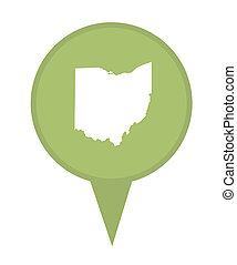American state of Ohio marker pin isolated on a white background.