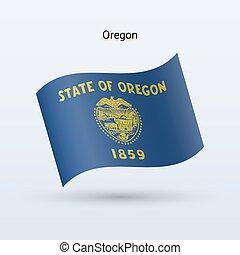 State of Oregon flag waving form. Vector illustration.