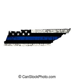 State of Tennessee Police Support Flag Illustration
