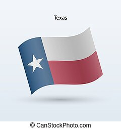 State of Texas flag waving form. Vector illustration.
