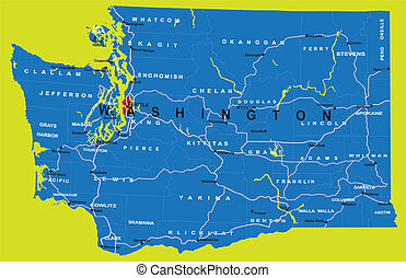 State of Washington political map - Highly detailed vector ...