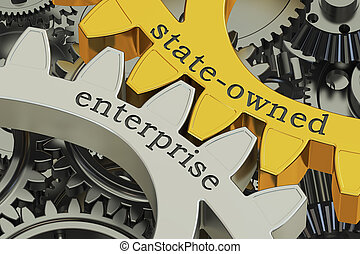 state-owned enterprise SOE concept on the gearwheels, 3D...