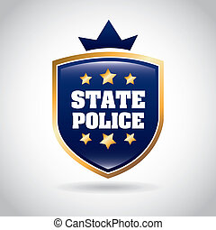 state police over gray background vector illustration