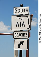 a1a road sign at st. augustine florida usa