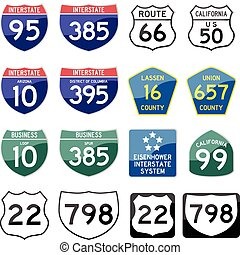 State Road Sign Glossy - set of road sign glossy
