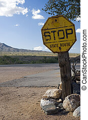 State Route Sign - An old rusty state route sign in the...