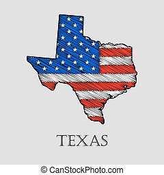 State Texas - vector illustration. - State Texas in scribble...