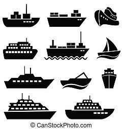 statek, łódka, ikony
