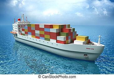 statek ładunku, płynie, wszerz, ocean