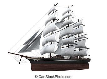 statek, żagiel, odizolowany