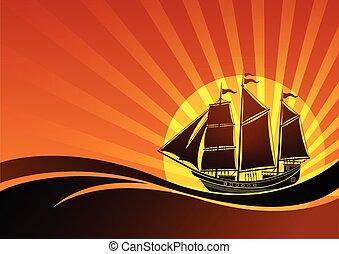 statek, żagiel, tło