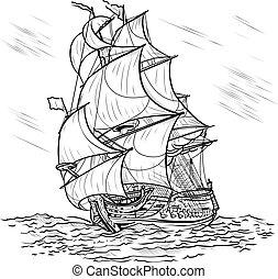 statek, białe tło, wiatr-jechał