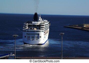 statek, crusie, odjeżdżanie