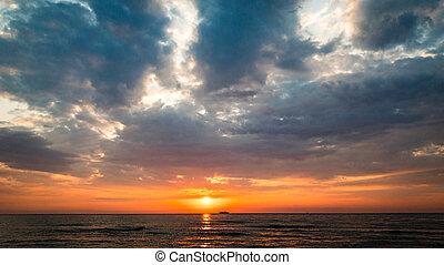 statek, daleki, motyw morski, zachód słońca