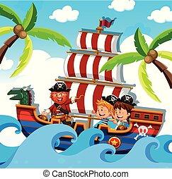statek, dzieciaki, pirat, szczęśliwy