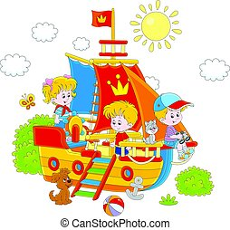 statek, grający dziećmi