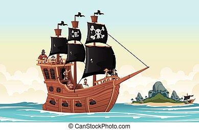 statek, grupa, piraci, rysunek