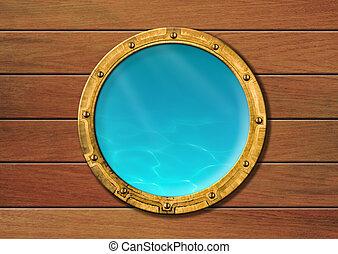 statek, iluminator, z, underwater patrzą