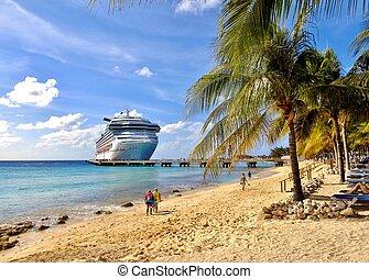 statek, karaibski, rejs