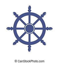 statek, koło, chorągiew, odizolowany, na białym, tło.,...