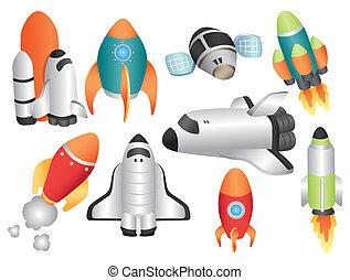 statek kosmiczny, rysunek, ikona