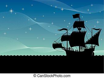 statek, nawigacja, noc